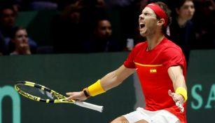 Rafael Nadal celebra el triunfo de España en la Copa Davis