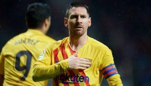 Messi celebrando el gol ante el ATM