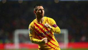 Leo Messi celebra su gol contra el Atlético