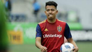 Sebastián Saucedo jugando con en la MLS