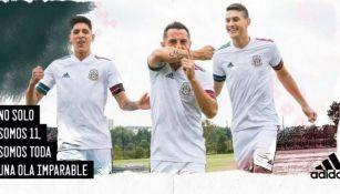Álvarez, Guardado y Montes portando el nuevo jersey de la Selección Mexicana