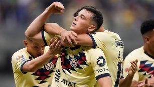 Viñas festeja su gol en Semifinales ante Morelia