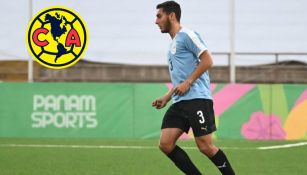 América: Sebastián Cáceres durante un juego con Uruguay Sub 23