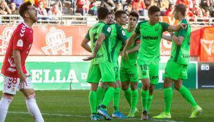 Jugadores del Leganés festejan un gol