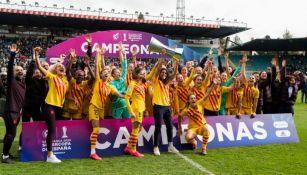 Jugadoras del Barcelona, en festejo