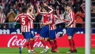 Jugadores del Atlético de Madrid celebrando un gol