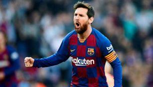 Messi, en festejo con Barcelona