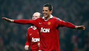 Javier Hernández en su paso por el Manchester United
