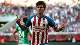 JJ Macías celebrando el primer gol ante León
