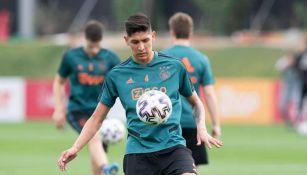 Edson, en un entrenamiento del Ajax