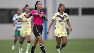 Lizzet García en un duelo de la Liga Femenil