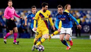 Messi durante el duelo de Ida de Octavos ante en Napoli