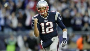 Tom Brady, en festejo en un partido de Patriots