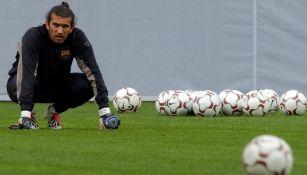 Rustu Recber, durante un entrenamiento del Barça
