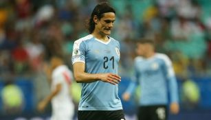 Edinson Cavani durante un partido de Uruguay
