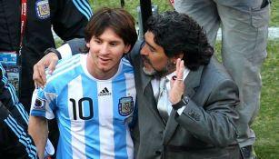 Lionel Messi y Diego Maradona en la Selección Argentina