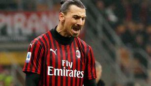 Ibrahimovic grita en un partido del Milan