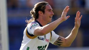 Jesús Palacios celebrando uno de los goles a San Lorenzo