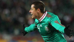 Javier Hernández celebrando el gol vs Francia