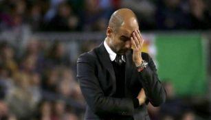 Pep Guardiola se lamenta durante un partido del City