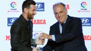 Javier Tebas con Messi