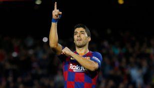 Luis Suárez festeja un gol con el Barcelona