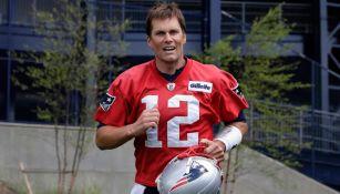 Brady, en un entrenamiento con los Patriots