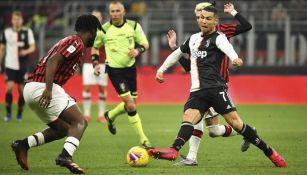 Cristiano Ronaldo durante un duelo contra Milán