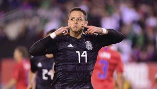 Chicharito celebra su gol ante Estados Unidos