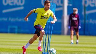 Arthur Melo durante un entrenamiento con el Barcelona