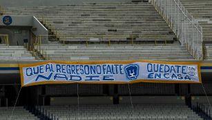 Pumas: Manta de apoyo en el Olímpico Universitario no fue obra de la Rebel