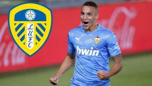 Rodrigo Moreno festeja un gol con el Valencia
