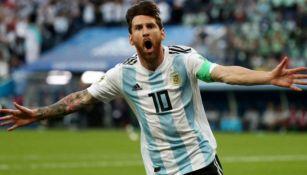 Lionel Messi en celebración con Argentina