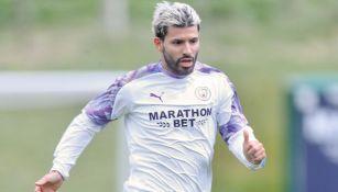 Kun Agüero durante un entrenamiento con el Manchester City