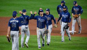 Los Rays celebran en un partido ante Baltimore