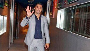 Suárez, en su acto de despedida con el club