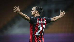 Zlatan Ibrahimovic en celebración con el Milan