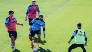 Sergio Agüero durante el entrenamiento