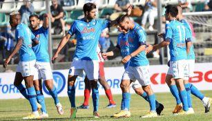 Jugadores del Napoli durante un duelo en Serie A