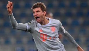 Thomas Müller luego de anotar el cuarto gol del Bayern