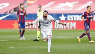 Sergio Ramos festejando su gol anotado ante el Barcelona
