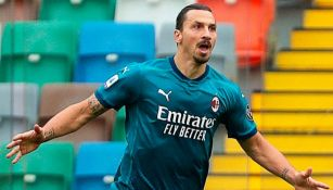 Zlatan Ibrahimovic luego de anotar gol frente al Udinese