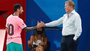 Messi y Koeman tras una victoria del Barcelona