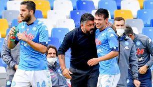 Gattuso y Lozano en un partido del Napoli