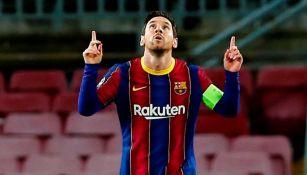 Lionel Messi celebrando el gol conseguido en Champions League