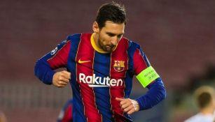Lionel Messi celebrando un gol conseguido en Champions League
