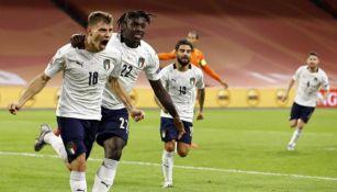 Nicolo Barella celebrando un gol conseguido ante Holanda