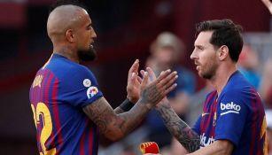 Vidal y Messi en el Barcelona