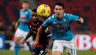 Hirving Lozano en partido vs Bolonia