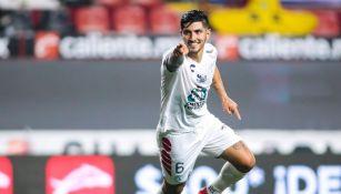 Víctor Guzmán luego de anotar gol con el Pachuca